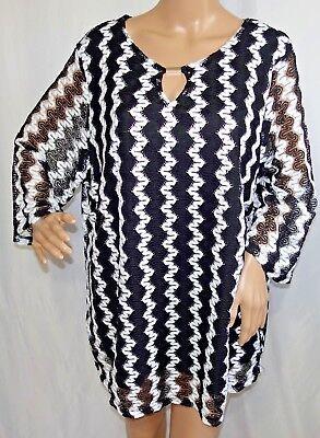 Southern Lady Damen Plus Größe 1 X 2 X 3 X Schwarz Weiß Gestreift Gefüttert ()