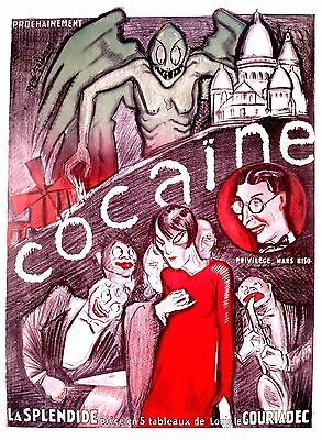 French drug propaganda cocaine 1920's vintage POSTER REPRINT