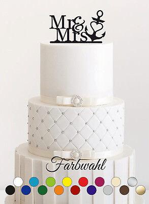 Tortenstecker Hochzeit, Cake Topper Acrylglas Mr Mrs Anker Wunschfarbe 0