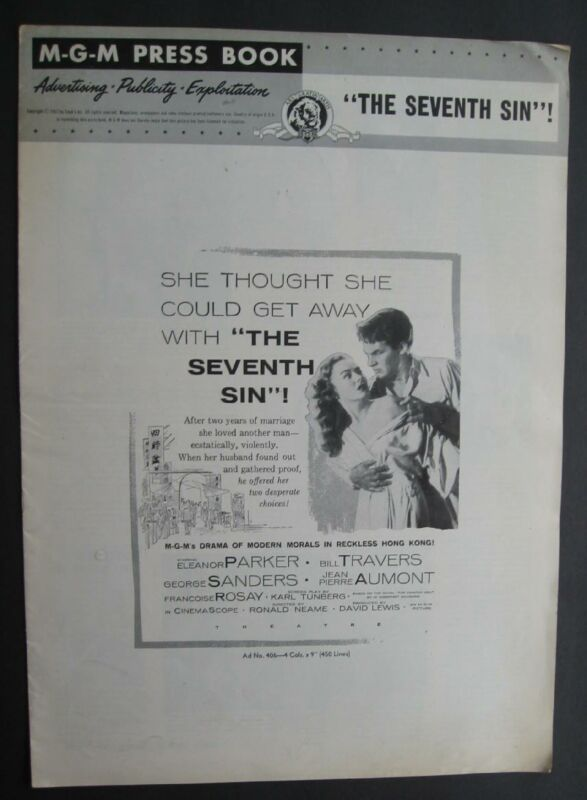 M.G.M.  Press Book Publicity Release For The Seventh Sin George Sanders 1957