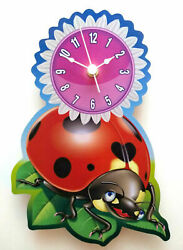 CHILDRENS LADYBIRD CLOCK HAND MADE WOODEN CLOCK LADY BUG NURSERY WALL CLOCK