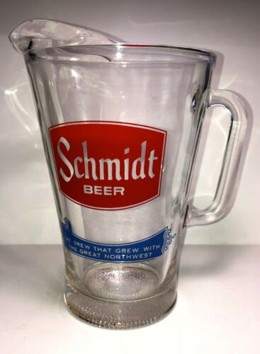 "LARGE 8""  VINTAGE SCHMIDT BEER PITCHER -48 OZ."