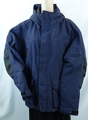 a602c2c7c74d1 H2O XPRESS blue waterproof hooded Men's Fishing Parka/coat,L-RUSTED BUTTONS