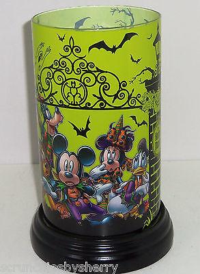 Disney Haunted Magione senza Fiamma Candela Vetro Tema Parks Mickey Minnie Goofy