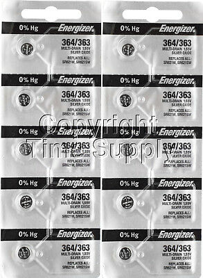 Energizer 364/363 Watch Batteries SR621SW SR621 0% Hg (10 PC)