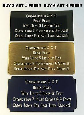 "Custom Engraved Plate BRASS 2""x4"" Name Plate Plaque Art Label Tag Gift Trophy"