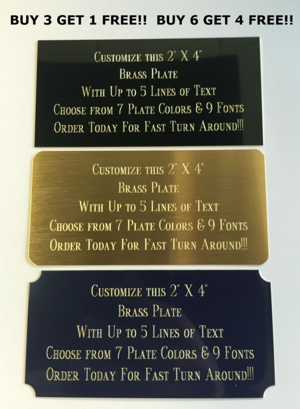 """Custom Engraved Plate BRASS 2""""x4"""" Name Plate Plaque Art Label Tag Gift Trophy"""