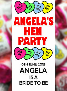 Personalised Hen Night Love Hearts Party Bag Favours Sweets