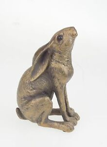 Leonardo Reflections Bronzed Moon Gazing Hare Ornament Gift Box Wildlife Figure