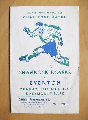SHAMROCK ROVERS v EVERTON Friendly 1956/1957 *Good Condition Football Programme*