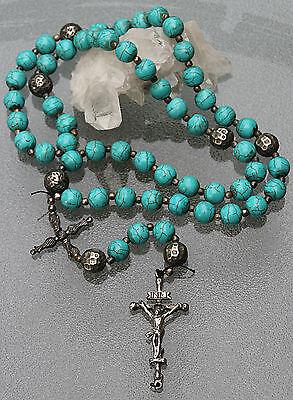 Antiker sehr seltener Türkis - Rosenkranz -  großes Kreuz  um 1840 , Top !