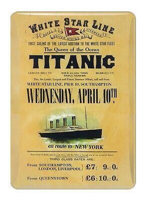 Titanic Tarifas Vintage Coleccionistas Mini Letrero de Metal Imán de Nevera (Sg)