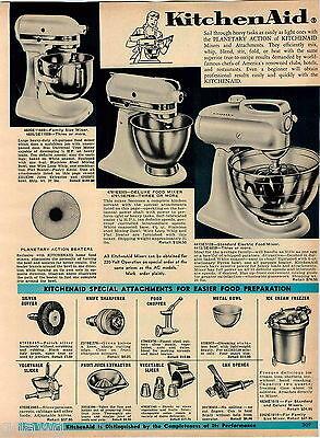 1964 ADVERT Kitchenaid Electric Food Mixer 3 Models Attachments Hamilton Beach