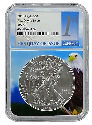 2018 1oz Silver American Eagle NGC MS69 First Day Issue - Eagle Core
