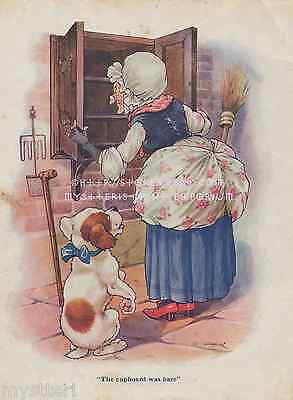 Old Mother Hubbard-Cupboard Was Bare-Dog-Hungry-1920 ANTIQUE VINTAGE ART PRINT