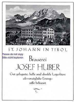 Brauerei Huber St. Johann Tirol Reklame 1927 Werbung Bier Österreich +