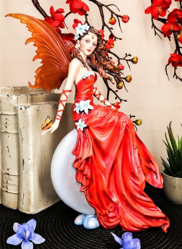 Ebros Nene Thomas Celestial Cupid Moon Crimson Wedding Fairy In Red Gown Statue