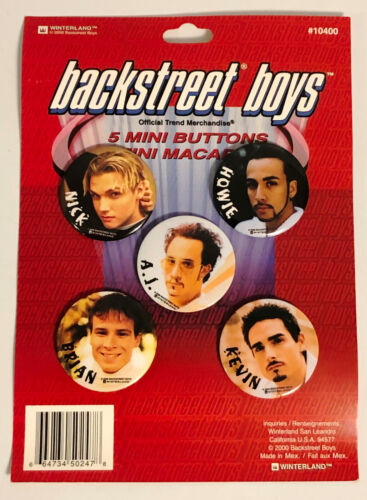 BACKSTREET BOYS - Display Card of 5 Licensed Mini Buttons Pinbacks 2000