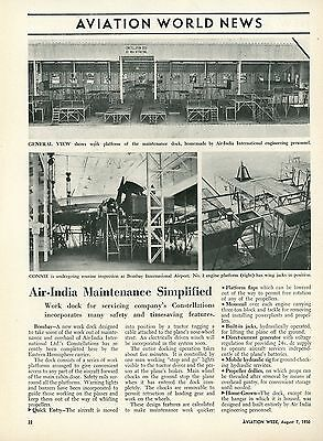1950 Aviation Article Air India International Repair Service Station Bombay