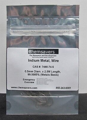 Indium Metal Wire 0.5mm Diam. X 2.5m Length 99.9985 Metals Basis
