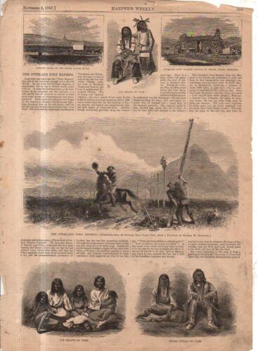 1867 Harpers Weekly November 2 Original Print Native American - Snake, Ute Pony