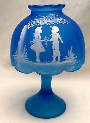 Westmoreland Glass Blue Satin Mary Gregory Fairy Lamp Candle Shade