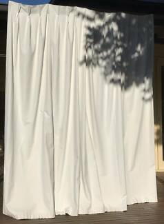 Stone Coloured Pleated Blockout Curtains - 4 Sets