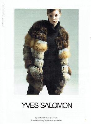 Publicité advertising 107   2011  les fourrures yves salomon