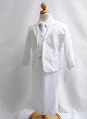 Boys WHITE formal suit Fancy wedding Christmas Holiday set long tie vest pants](Boys Christmas Suit)