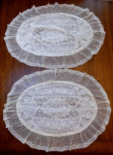 Pair antique French Normandy oval shape pillow covers