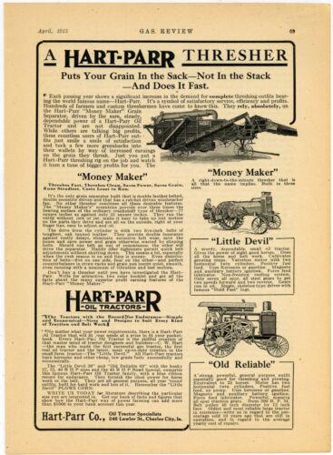 1915 Hart Parr Ad: Money Maker Thresher, Old Reliable & Little Devil Tractors