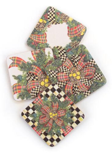 Mackenzie-Childs Set Of 4 Evergreen Christmas Coasters-Cork Back-Heat Resistant