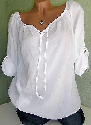 Hübsche hauchzarte Bluse / Tunika / Shirt Baumwolle in weiß Gr. 38 40