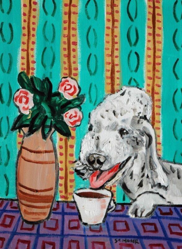 Bedlington terrier Signed dog art PRINT 13x19 animals impressionism coffee