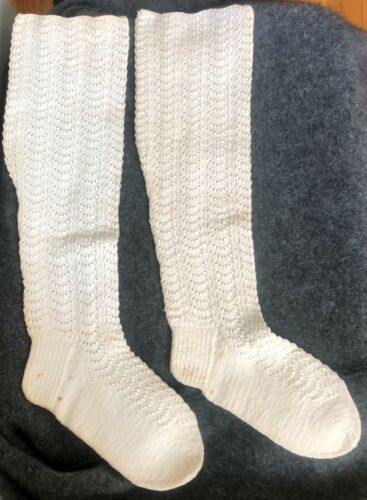 ANTIQUE LADIES HAND KNITTED WHITE COTTON STOCKINGS SOCKS