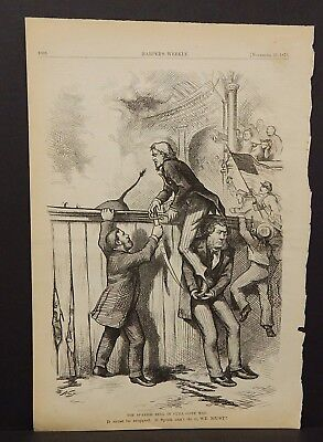 Harper's Weekly 1 Pg The Spanish Bull in Cuba Gone Mad - Political 1873 B14#44 - The Week In Spanish