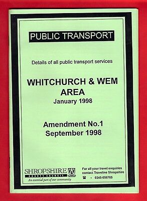 Shropshire Timetable Amendment Booklet ~ Whitchurch & Wem Area: January 1998