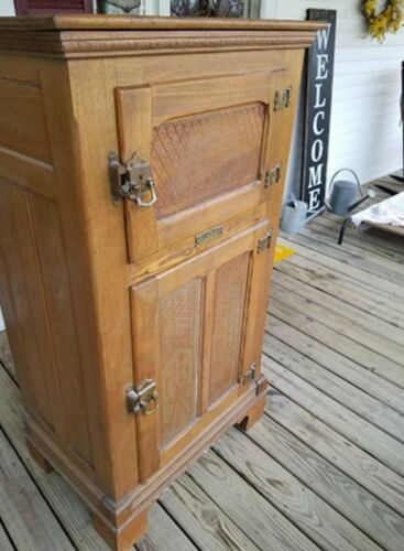 Antique Alaska Oak Ice Box Muskegon Mich.