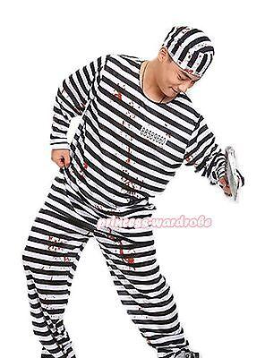 Black Man Dressed For Halloween (Halloween Costume Black White Stripe Prisoner Party Dress Up for Men)