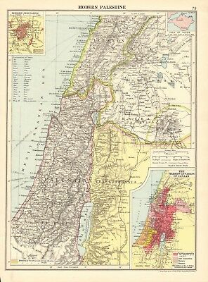 1925 ca MAP - MODERN PALESTINE, INSET JERUSALEM, HEBREW INVASION OF CANAAN