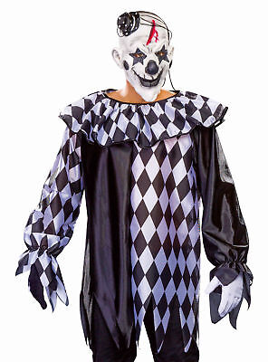 Kragen Clown Kostüme (schwarz weißer Grusel Pantomime Clown Pierrot mit Kragen Gr. 50/52 Halloween)