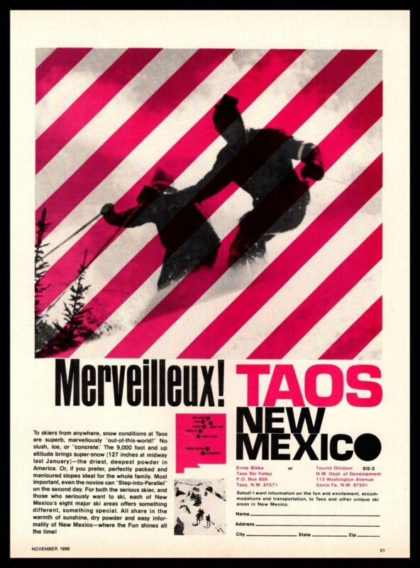 """1969 Taos Snow Ski Valley Ernie Blake """"Merveilleux!"""" New Mexico Resorts Print Ad"""