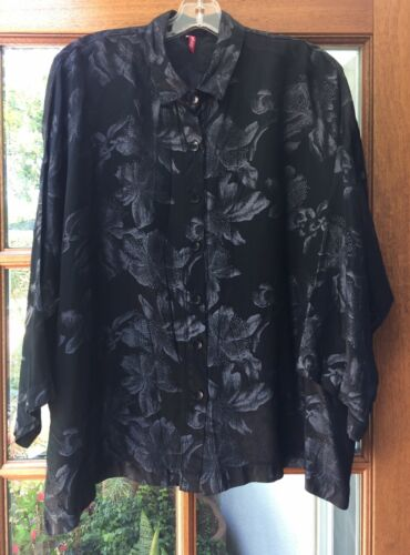 Blanque Black Woven Jacquard Patterned Boxy Shirt Tunic Size 1 M / L / XL  - $40.00