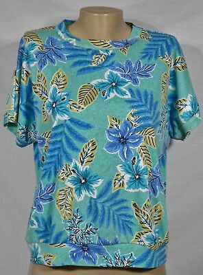 (MY OWN Green Blue Floral Print Cap Sleeve Top Large Cotton Blend Waistband)