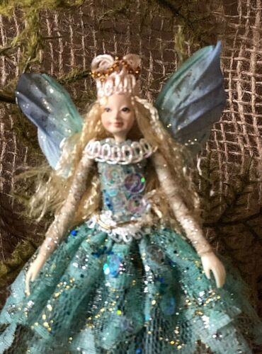 """Poseable Handmade Fairy """"Turquoise Queen"""" Collectible Doll Ornament"""