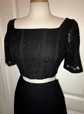 NWT ZARA Black Structured Lace Crop Top Short Sleeve Blouse - Size Medium