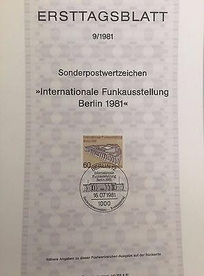 Berlin West Ersttagsblatt 9/1981 Funkausstellung
