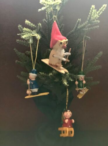 4 Wooden Christmas Tree Ornaments ~ 3 Skiers and a Sledder