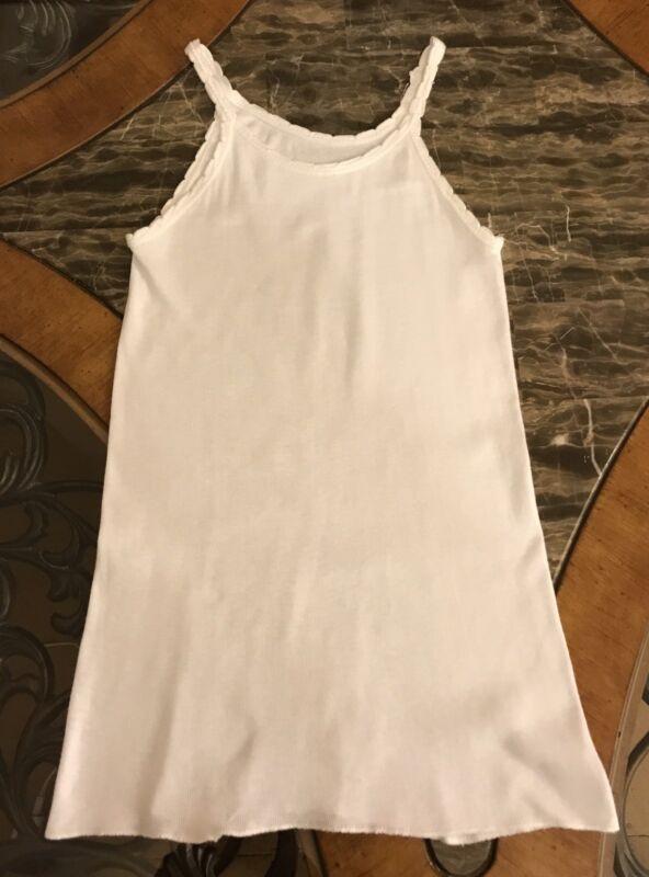 Vintage Girls Undershirt Tank Spaghetti Strap White 1980s Cotton Sleeveless 10