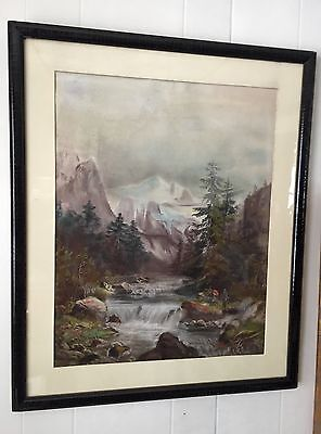 Hudson River School Pastel Western Waterfall & Mt.Men At Campfire,signed & -